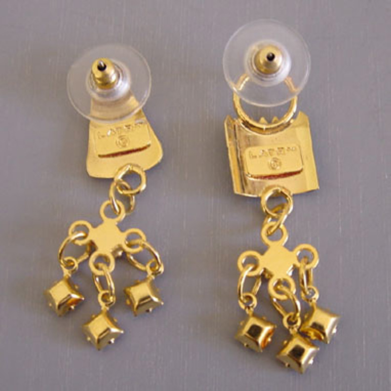 Lunch At The Ritz Car Hop Earrings With Colorful Enamel On Gold Tone Red Clear And Topaz Rhinestones Burger Fries For Pierced Ears 1 3 4 Long