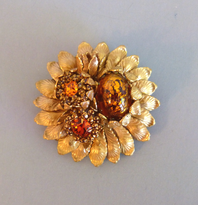 This Is A Nice Large3 Pin On Gold Tone Filigree Base Marked Amourelle