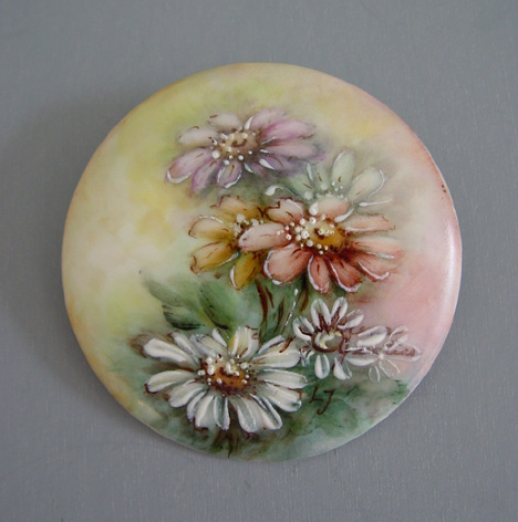 Vintage Jewelry hand painted ceramic porcelain china brooch pin Pendant in gold frame with painted blue flowers signed Jewellery