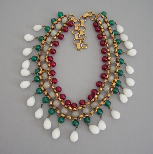 jewelry morning beads glass bead necklace glory white red green bib product