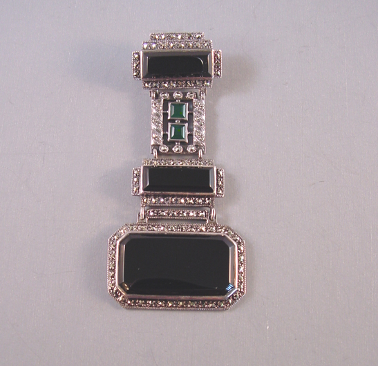 Art Deco Style Sterling Black Onyx Green And Marcasite Brooch With A Maker S Mark The Word On Back 3 By 1