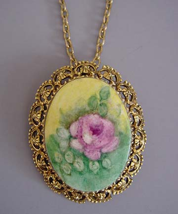Morning glory collects hand painted porcelain set in gold tone pink rose broochpendant 2 14 on a 24 chain audiocablefo light ideas