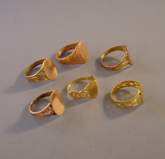 BRASS salesman s sample signet rings c 1910 group of 6 Morning