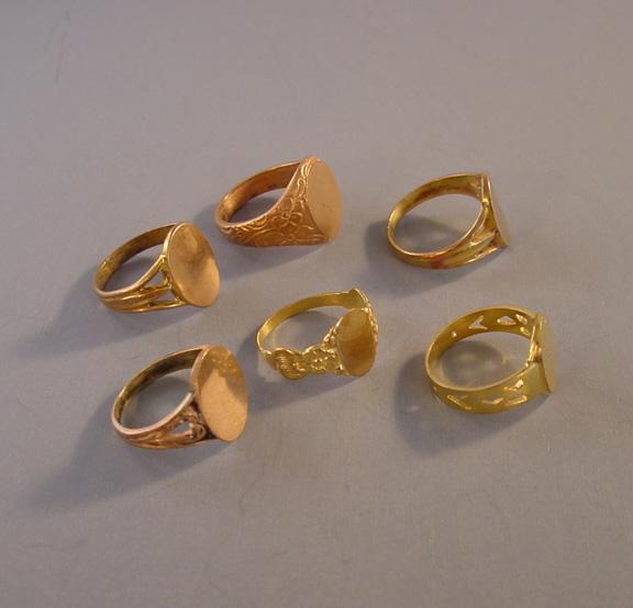 BRASS salesman s sample signet rings c 1910 group of 6 Morning