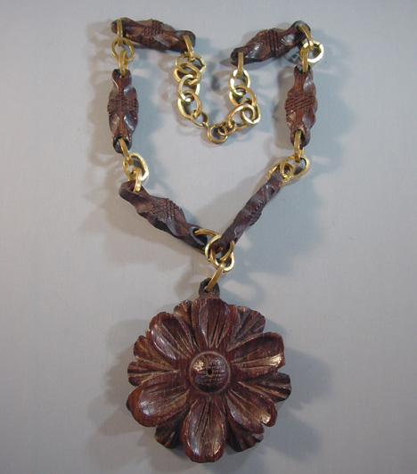 pendant heart bead wood wooden antique beads with necklace farmhouse hand carved