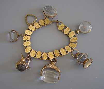 Sears Catalogue 1897 on page 407, VICTORIAN gold tone bracelet with crystal fobs as charms.
