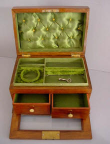 VICTORIAN English Wooden Jewelry Box With Green Tufted Satin Fitted Interior Glass Front Drop Which Opens To Two Small Drawers Lock Key