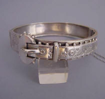 VICTORIAN sterling silver hinged bangle, 1888