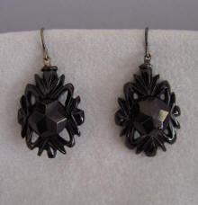 Victorian Whitby Jet Earrings With And Bolt Design Circa 1870 1 3 4 Length Only Original Shepherd Findings Very Similar Can Be