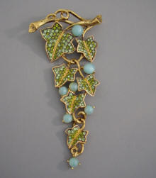 CAROLEE 2005 Limited Edition Long Dangling Jointed Rhinestone Leaf Brooch  With Aqua Glass Cabochons Set Among Two Tone Green Rhinestone Leaves In A  Gold ...