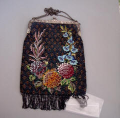 Clothing, Shoes & Accessories Smart Antique Silver Filigree Butterfly Frame Tan Crochet Blue Glass Bead Fringe Purse Antiques