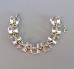 404c7488b DECO bracelet with ribbed glass half-barrel shapes accented with clear  rhinestone set in silver tone bracelet, safety chain, circa 1930, 7