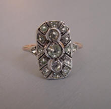 Ring 9ct And Silver Clear Paste Size 7 1 2 5 8 Long At The Front As It Lays On Finger Marked Inside Sil Early 1900s