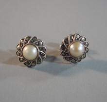 dbd4cc397 MARCASITE and artificial pearl dangle screw back earrings circa 1930, total  length 1-3/4