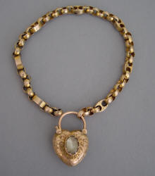 Victorian 9k Rose Gold Heart Padlock Bracelet With Every Link Of And The Marked 9c Circa 1890 Other Has A Lovely Texture